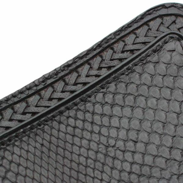 レザーブランドS'FACTORY  内編みロングウォレット ブラックパイソン(ヘビ革)革財布