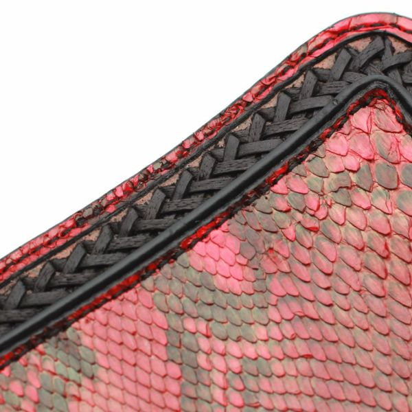 レザーブランドS'FACTORY  内編みロングウォレット レッドパイソン(ヘビ革)革財布