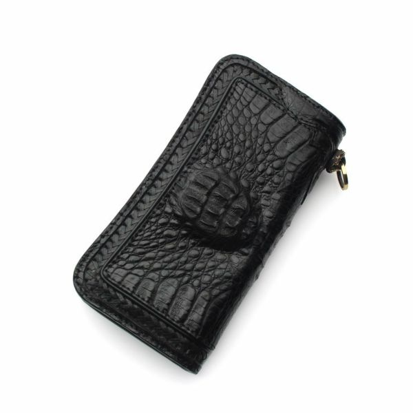 レザーブランドS'FACTORY  内編みロングウォレット クロコダイル(ワニ革)革財布
