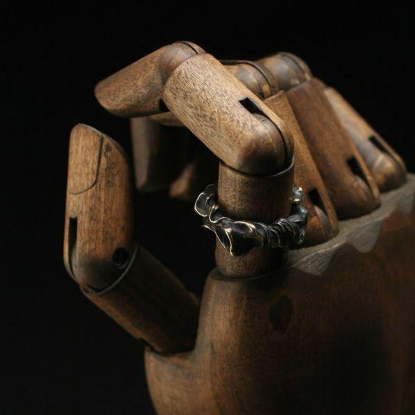 """レザーブランドS'FACTORY BURNOUTリング """"Flame"""" ブラス(真鍮) アクセサリー 指輪 Animal Worship Silver"""