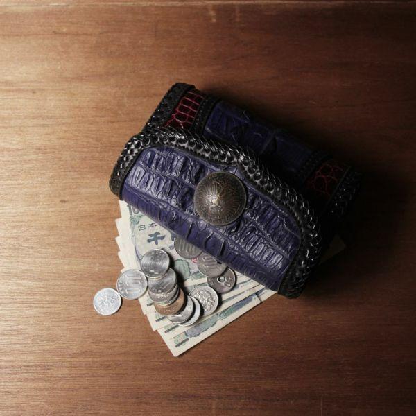 ワニ革,クロコダイル,財布,小さい,腰,三つ折り,ウォレット,縁編みレザー,革,青,ブルー