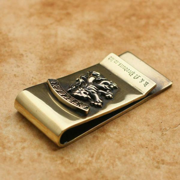 レザーブランドS'FACTORY 真鍮マネークリップ ライオン 真鍮(ブラス)