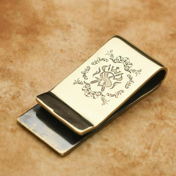 レザーブランドS'FACTORY 真鍮マネークリップ エンブレム ブラス(真鍮)