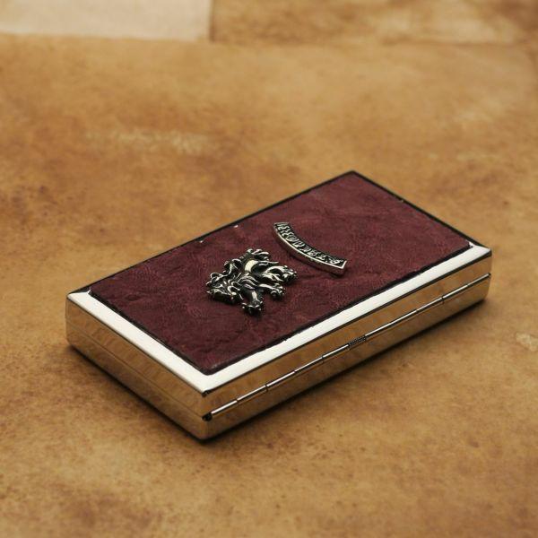 レザーブランドS'FACTORY メタルシガレットケース 12本タイプ ボルドーエレファント(ゾウ革)革小物 タバコ入れ