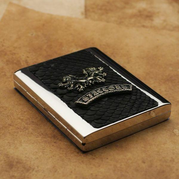 レザーブランドS'FACTORY メタルシガレットケース 20本タイプ ブラックパイソン(ヘビ革)革小物 タバコ入れ