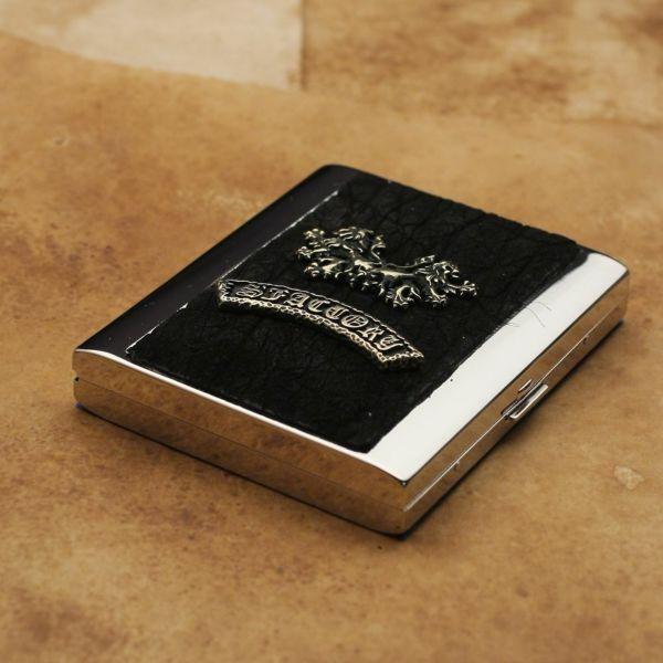 レザーブランドS'FACTORY メタルシガレットケース 20本タイプ ブラックエレファント(ゾウ革)革小物 タバコ入れ