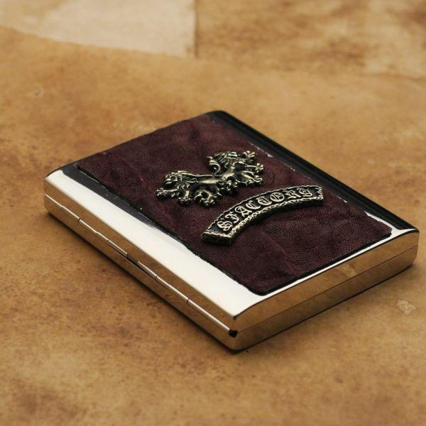 レザーブランドS'FACTORY メタルシガレットケース 20本タイプ ボルドーエレファント(ゾウ革)革小物 タバコ入れ