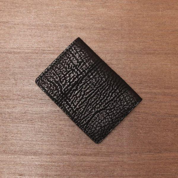 レザーブランドS'FACTORY ポケットカードケース シャーク(サメ革) 革小物 名刺入れ パスケース 本革