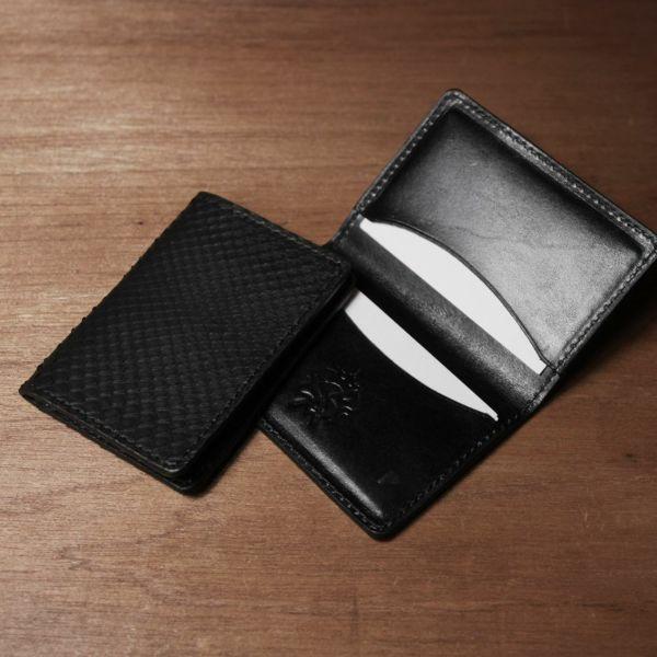 レザーブランドS'FACTORY ポケットカードケース ブラックパイソン(ヘビ革) 革小物 名刺入れ パスケース 本革