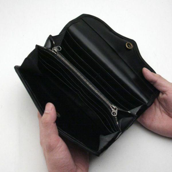 レザーブランドS'FACTORY ヘリ玉ロングウォレット シャーク(サメ革)革財布