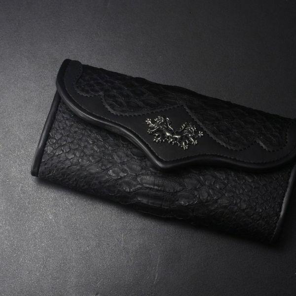 レザーブランドS'FACTORY ヘリ玉ロングウォレット ブラックパイソン(ヘビ革)革財布