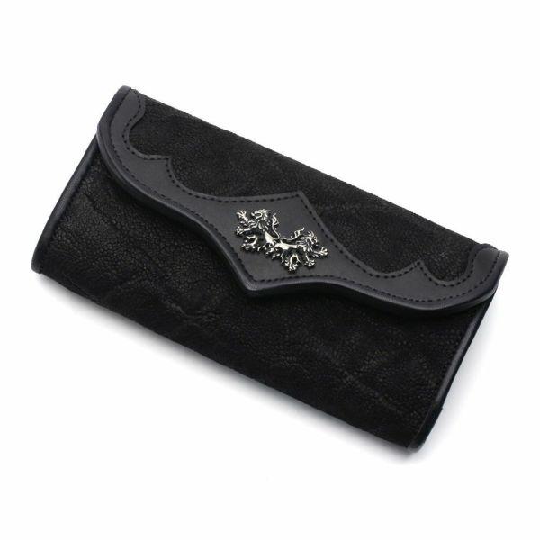 レザーブランドS'FACTORY ヘリ玉ロングウォレット ブラックエレファント(ゾウ革)革財布