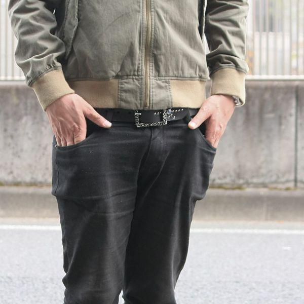 レザーブランドS'FACTORY 栃木レザー ジェムストーンベルト カウレザー ブラック(牛革)スタッズ ベルト
