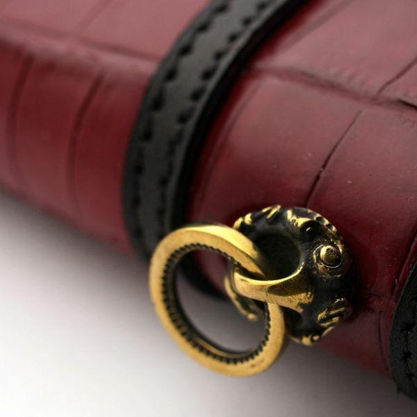 レザーブランドSIXTHSENSE ロングウォレット レッド 赤クロコダイル(ワニ革)革財布