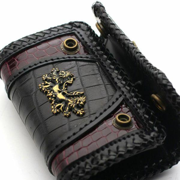 レザーブランドSIXTHSENSE マイクロウォレット パープル&ブラッククロコ メンズ革財布