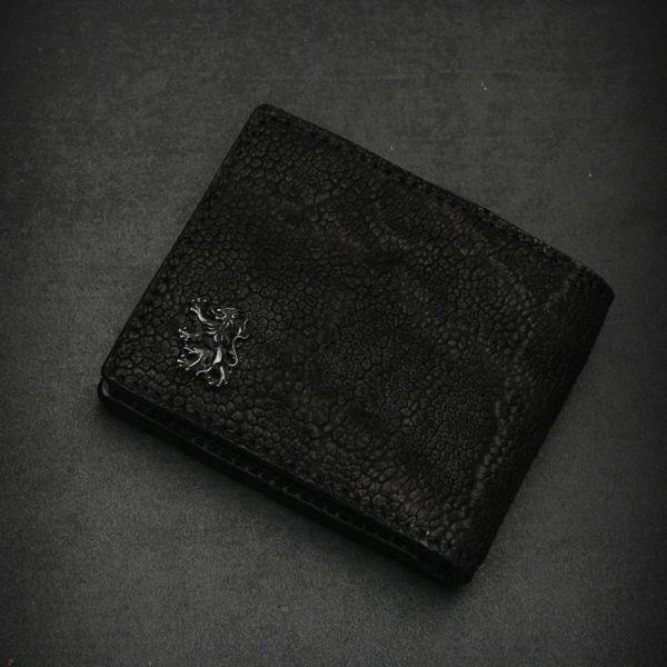 レザーブランドS'FACTORY 二つ折り レザーショート ウォレット ブラックエレファント(ゾウ革) メンズ革財布