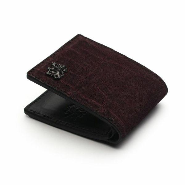 レザーブランドS'FACTORY 二つ折り レザーショート ウォレット ボルドーエレファント(ゾウ革) メンズ革財布
