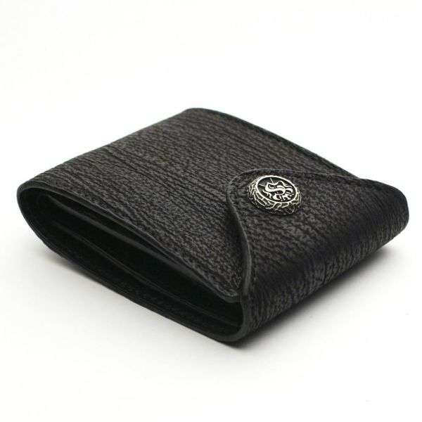 レザーブランドS'FACTORY フラップ ショート ウォレット シャーク(サメ革) メンズ革財布