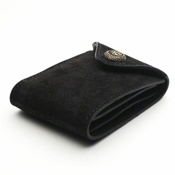 レザーブランドS'FACTORY フラップ ショート ウォレット ブラックエレファント(ゾウ革) メンズ革財布