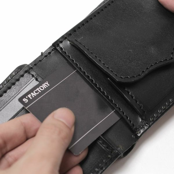 レザーブランドS'FACTORY フラップ ショート ウォレット ボルドーエレファント(ゾウ革) メンズ革財布