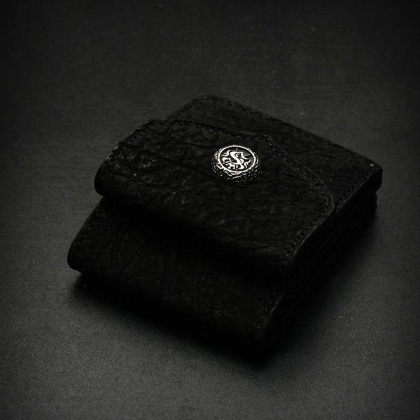 レザーブランドS'FACTORY ビルフォールド ウォレット ブラックエレファント(ゾウ革) メンズ革財布