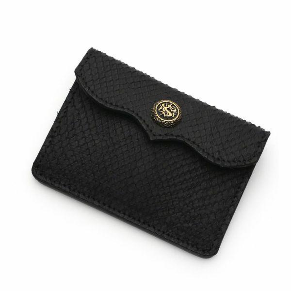 レザーブランドS'FACTORY スマート ショート ウォレット ブラックパイソン(ヘビ革) メンズ革財布