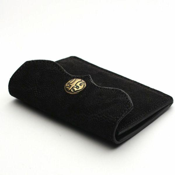 レザーブランドS'FACTORY スマート ショート ウォレット ブラックエレファント(ゾウ革) メンズ革財布