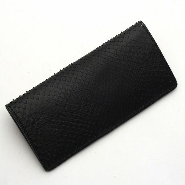 レザーブランドS'FACTORY  スマート ロング ウォレット ブラックパイソン(ヘビ革)革財布
