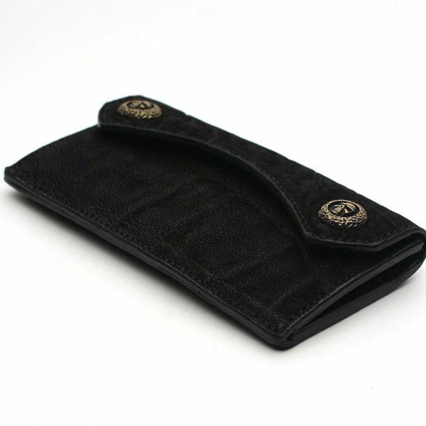 レザーブランドS'FACTORY スマート ロング ウォレット ブラックエレファント(ゾウ革)革財布
