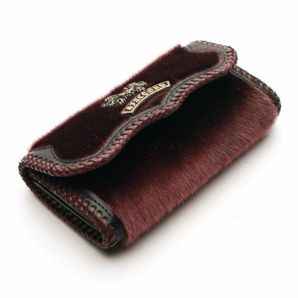 レザーブランドS'FACTORY 縁編みスナップウォレット シール ワインレッド(アザラシ毛皮)革財布