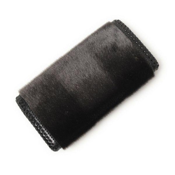 レザーブランドS'FACTORY 縁編みスナップウォレット シール ダークグレー(アザラシ毛皮)革財布