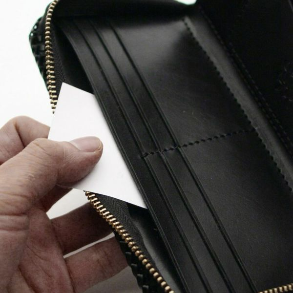 レザーブランドS'FACTORY 縁編みファスナーウォレット シャーク(サメ革)メンズ革財布