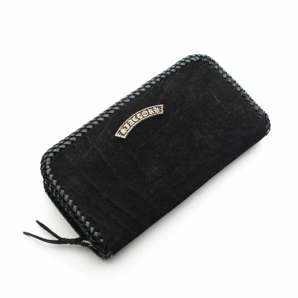 レザーブランドS'FACTORY 縁編みファスナーウォレット ブラックエレファント(ゾウ革)メンズ革財布