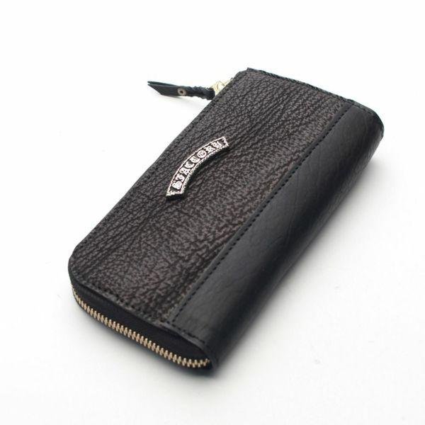 レザーブランドS'FACTORY L字ファスナー ロングウォレット シャーク(サメ革)メンズ革財布