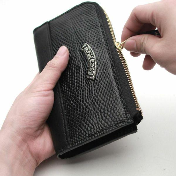 レザーブランドS'FACTORY L字ファスナー ロングウォレット リザード(トカゲ革)メンズ革財布