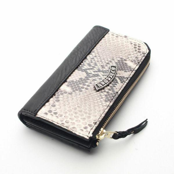 レザーブランドS'FACTORY L字ファスナー ロングウォレット パイソン(ヘビ革)メンズ革財布