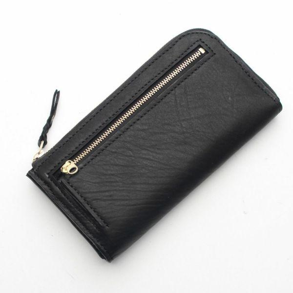 レザーブランドS'FACTORY L字ファスナー ロングウォレット ブラックパイソン(ヘビ革)メンズ革財布