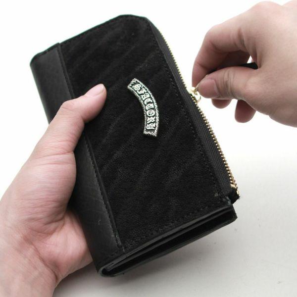 レザーブランドS'FACTORY L字ファスナー ロングウォレット ブラックエレファント(ゾウ革)メンズ革財布