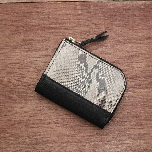 レザーブランドS'FACTORY  L字ファスナー ショートウォレット パイソン(ヘビ革) メンズ革財布