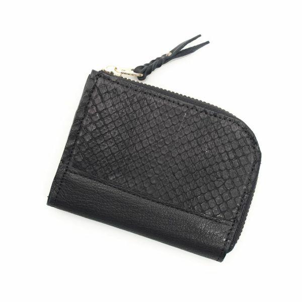 レザーブランドS'FACTORY L字ファスナー ショートウォレット ブラックパイソン(ヘビ革) メンズ革財布