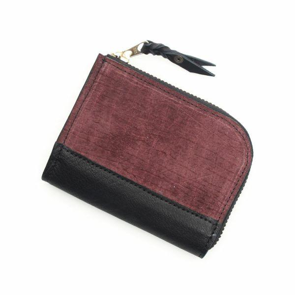 レザーブランドS'FACTORY L字ファスナー ショートウォレット ヒポ ボルドー(カバ革) メンズ革財布