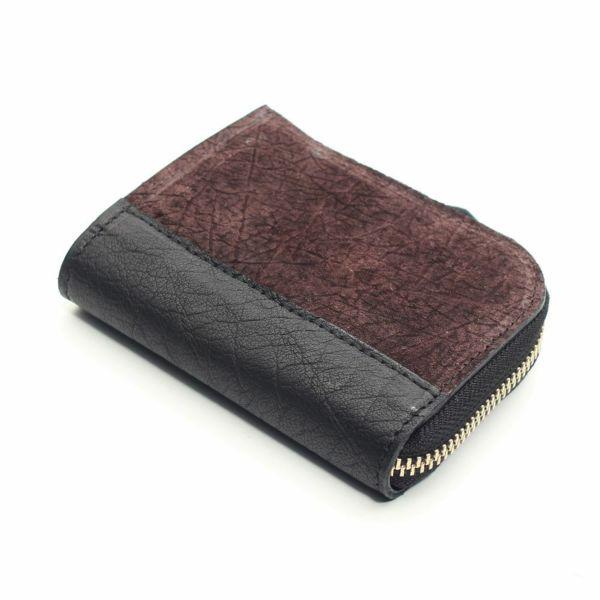 レザーブランドS'FACTORY L字ファスナー ショートウォレット ヒポ ブラウン(カバ革) メンズ革財布