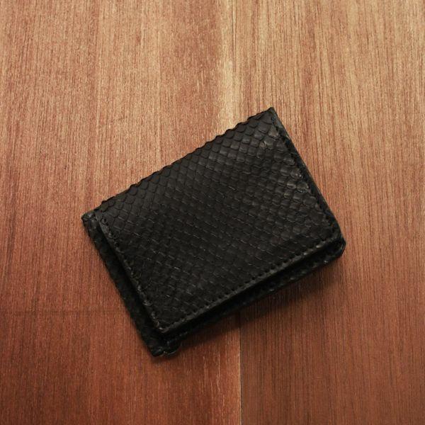 レザーブランドS'FACTORY マネークリップ ウォレット ブラックパイソン(ヘビ革)革小物