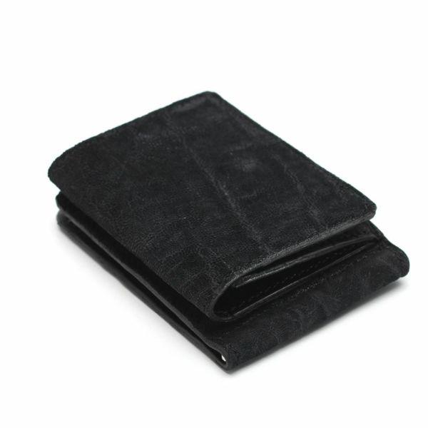 レザーブランドS'FACTORY マネークリップ ウォレット ブラックエレファント(ゾウ革)革小物
