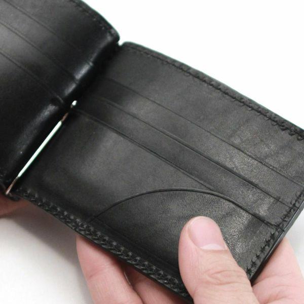 レザーブランドS'FACTORY レザーマネークリップ ブラックパイソン(ヘビ革)革小物