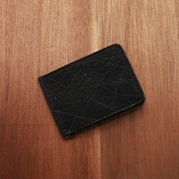 レザーブランドS'FACTORY レザーマネークリップ ブラックエレファント(ゾウ革)革小物