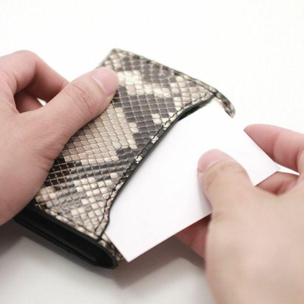 レザーブランドS'FACTORY シンプル名刺入れ パイソン(ヘビ革)革小物 カードケース