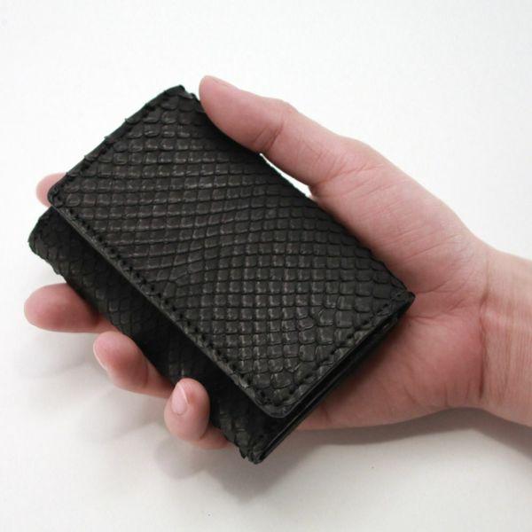 レザーブランドS'FACTORY シンプル名刺入れ ブラックパイソン(ヘビ革)革小物 カードケース