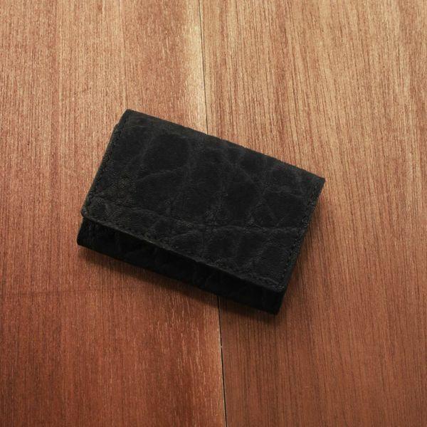 レザーブランドS'FACTORY シンプル名刺入れ ブラックエレファント(ゾウ革)革小物 カードケース