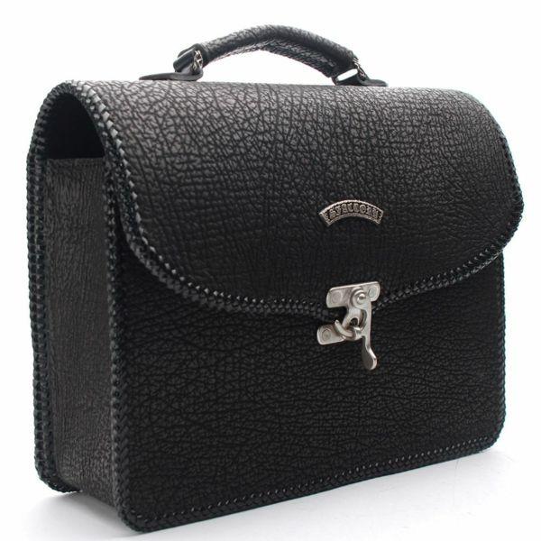 レザーブランドS'FACTORY 縁編みセカンドバッグ シャーク(サメ革)メンズ ブリーフケース バッグ